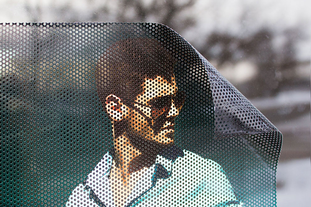 Perforated Mesh Vinyl With Adhesive Back For Glass