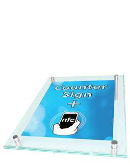 NFC Counter Sign with replaceable graphics