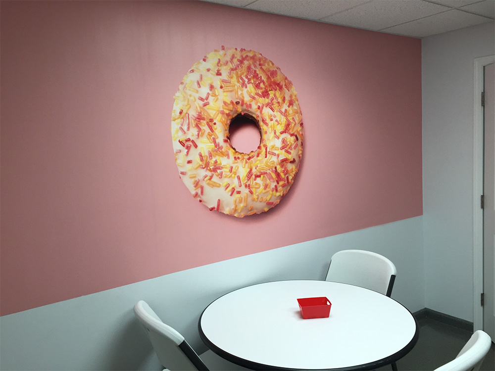Printed Adhesive Vinyl Wall Wrap For Lunch Room 40 Visuals