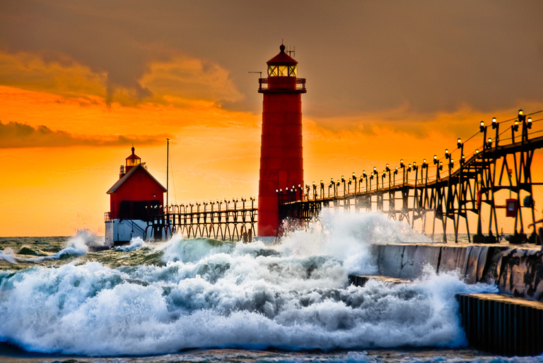 Printed and framed photography of grand haven michigan for Beach house designs south haven mi
