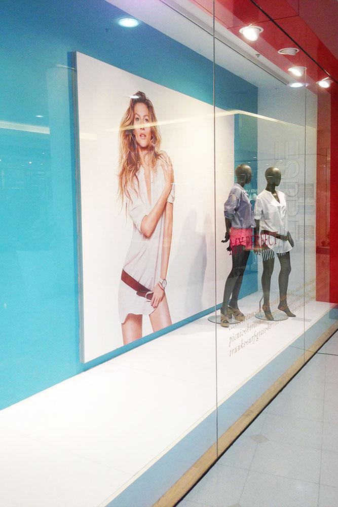 large fabric frame signage retail storfront
