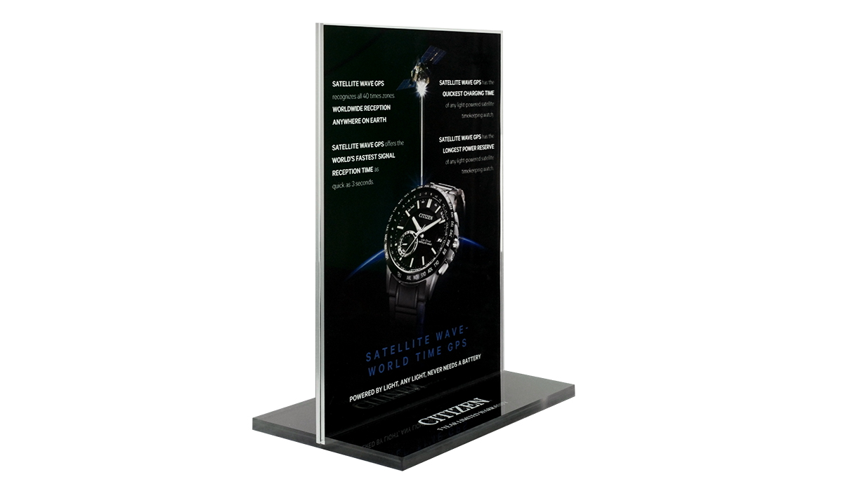 Double Sided Printed Acrylic Counter Sign Display Concept