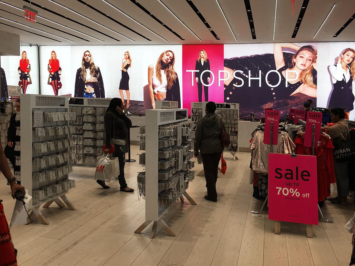 Backlit fabric light box signage topshop NYC fashion retail printing