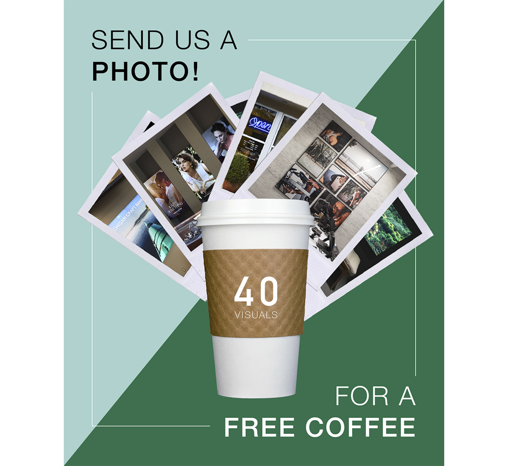 Free coffee for photos of signage offer