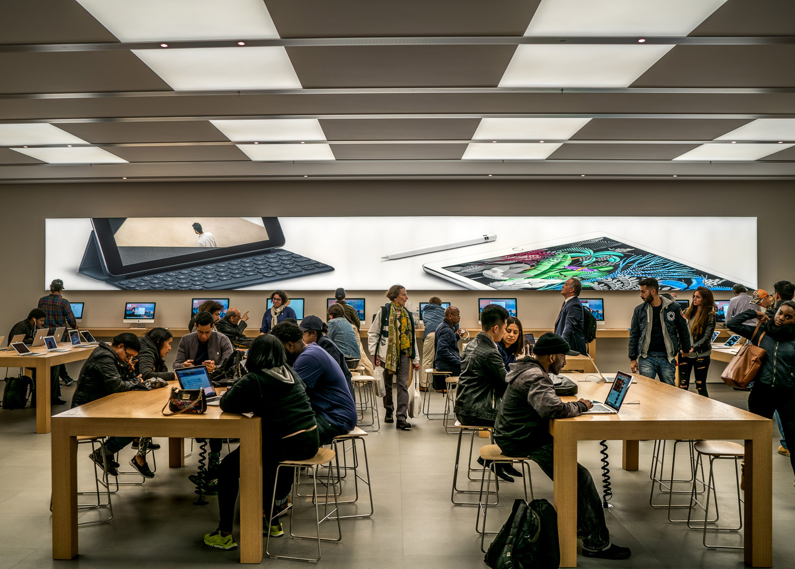Apple Store Signage Backlit Seg Tension Fabric And